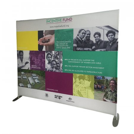 Stretch Fabric Media Walls - No of Sides:: Double sided, Popular sizes: 2905 x 2180 mm, Optional Extras: None